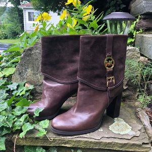 MICHAEL KHORS Brown Suede & Leather Boots